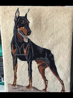 Completed Doberman Pinscher Dog Cross Stitch Framed Standing 9x12 EUC