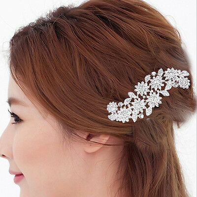 Bridal Wedding Prom Crystal Flower Rhinestone Hair Comb Clip Hair Accessory