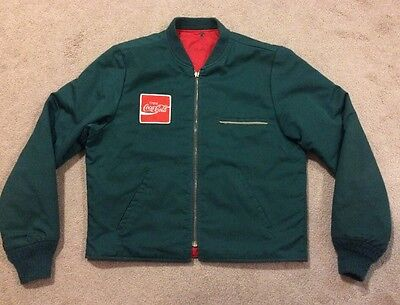 VINTAGE COCA COLA Driver RIVERSIDE GREEN/Red Reversible JACKET MEDIUM Sz 40 USA