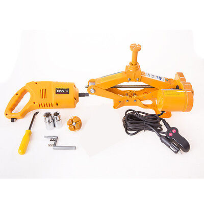"2.5 Ton 12V Electric Scissor Car Jack + 1/2"" Impact Wrench"