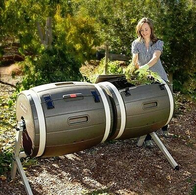 Composting Bin Compost Tumbler Dual Composter Garden  Waste Heap Rotating Bins