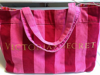 Victoria Secret Large Canvas Tote Beach Gym Weekender Shop Bag Pink Red Stripe