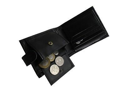 Men's Tri fold Textured Leather Wallet ID Card Holder Note Case RFID Block Proof