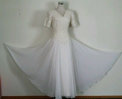 Vtg Ivory Lace Applique Bodice Silk Pencil Full Chiffon Overlay Wedding Dress S