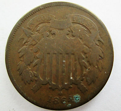 1864 Two Cent Coin - United States Coin - NR