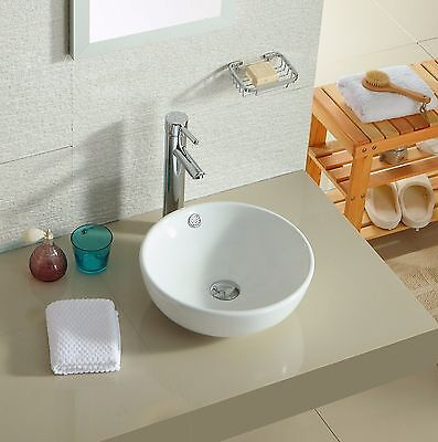Bathroom Round Counter Top Vanity Wash Basin Sink White Ceramic