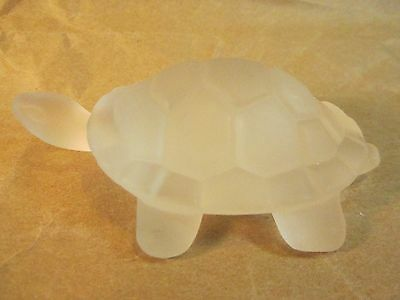 Satin Glass Turtle Paperweight 4x2.5""