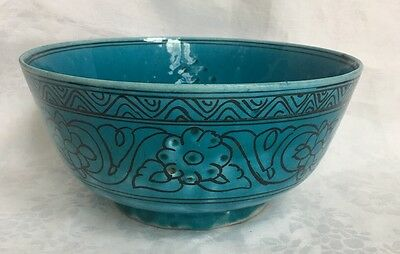 Antique Iran/Persian Kashan Pottery Large Bowl Early 1900's