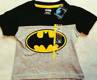 NEW Baby Boy's size 12 months Short Sleeve T-shirt Batma Clothes black yellow