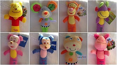 Plush Toy Rattles ~ Eight Fun Characters ~ 23cm ~ Brand New