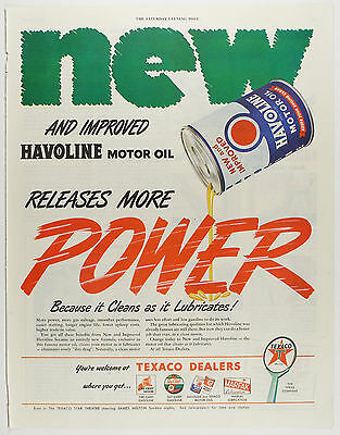 Vintage 1946 TEXACO HAVOLINE MOTOR OIL - Large Magazine Print Ad - Automobile