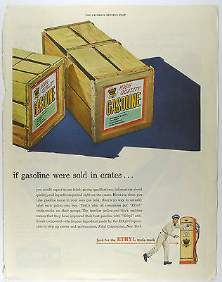 Vintage 1947 ETHYL GASOLINE - Large Magazine Print Ad - Automobile