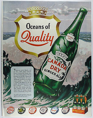 Vintage 1949 CANADA DRY GINGER ALE & SODA POP Full-Page Large Magazine Print Ad