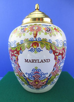 Vintage Delft Poly-chrome 'Maryland' Hand-Painted Large Tobacco Jar