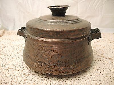 Vintage Hammered Tinned Copper Pot With Handles & Lid