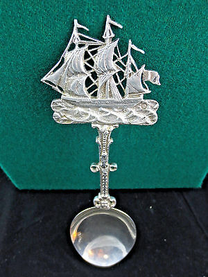 Antique Dutch Silver Large Commemorative Spoon with Sailing Ship, Circa 1910