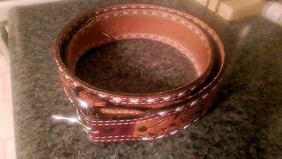 Sheplers of Wichita Leather Belt - Western - Hand Tooled - Size 40