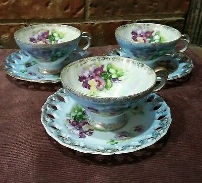 Vintage tea cups and saucers lot of 3 Robin egg blue with violets