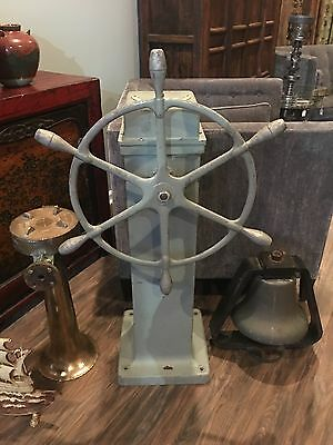 Authentic Vintage Maritime Marine Ship's Wheel & Base With Working Degree Dial