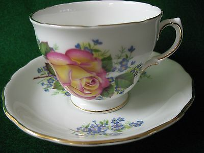 Royal Vale Bone China Cup And Saucer, Large Rose, Blue Flowers