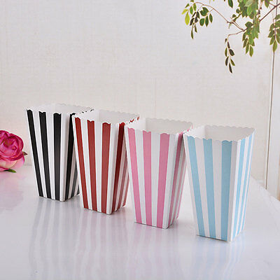 12pcs Popcorn Striped Paper Boxes Container Treat Box Favour Bags Birthday