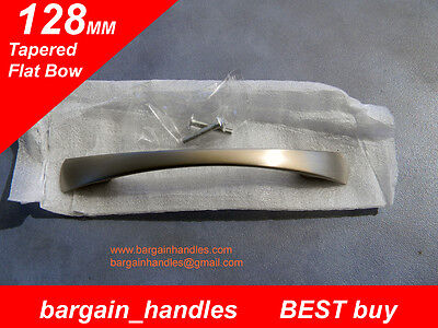 Premium kitchen door handles 20x128mm Tapered Flat Bow Brushed Stainless finish