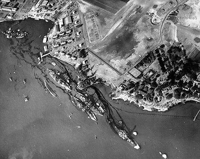 WWII B&W Photo Pearl Harbor After Attack WW2 Hawaii World War Two Pacific / 7032