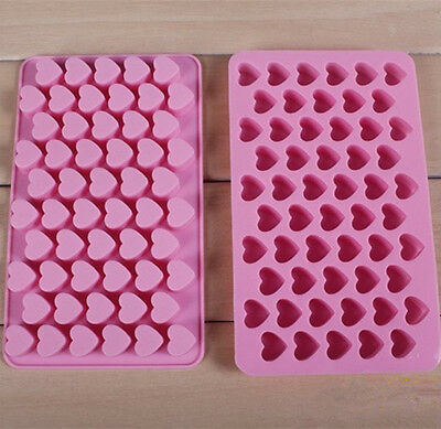 Silicone 55 Heart Cake Chocolate Cookie Ice Cube Soap Mould Jelly Baking Tray 1X