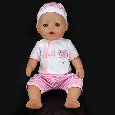 1set grid clothes+hat Wearfor 43cm Baby Born zapf (only sell clothes )