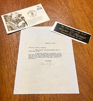 Spiro T. Agnew TLS, Letter Signed, 39th Vice President, Plaque and 1st Day Cover