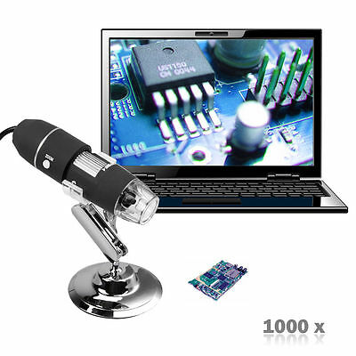 2MP 1000X 8-LED USB Digital Microscope Endoscope Zoom Camera Magnifier+Stand DSP