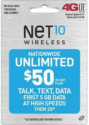 Net10 $50 UNLIMITED 30 DAY REFILL FAST