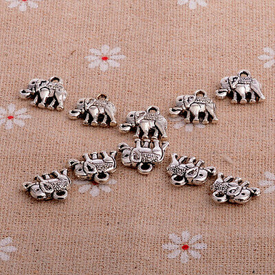 10PC Cute Elephant Carve Charm Necklace Pendant Bracelet  Animal Gifts BFF Gifts
