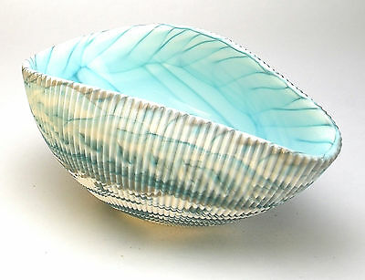 """HOME DECOR - MURANO GLASS DECORATIVE SHELL BOWL - IVORY / TURQUOISE - 7"""" x 4.5"""""""