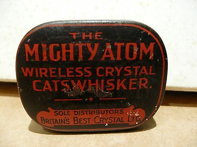"The Mighty Atom Wireless Crystal "" Cats Whsker ""Crystal Tin Crystal Radios"