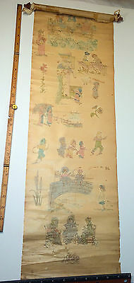 Rare Antique 1882 School Scroll With Fantastic Hand-Colored Drawings! Children!