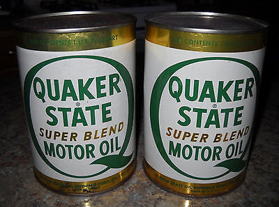 Vintage Quaker State Metal Oil Can - 2 Quart-Size Cans - Full