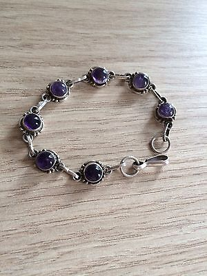 Deep Purple Amethyst Sterling Silver 925 Bracelet