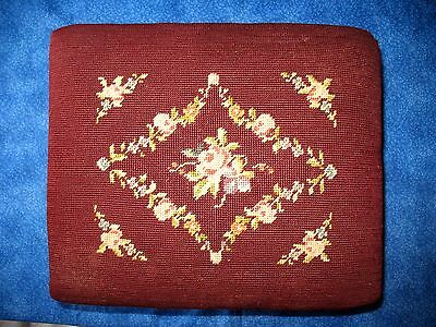Vintage Foot Stool Needle Point Mahogany Wood Original Vintage 1900s Footstool