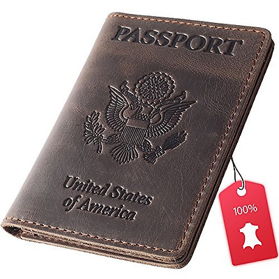 Rachiba Leather Passport Holder – Travel Wallet Cover Case for Men & Wome