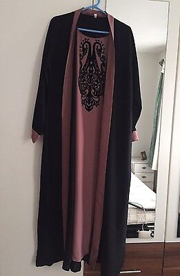 Women's Damask Pink Abaya With Pink Border SIZE 54 WORN ONCE