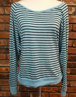 Victoria's Secret PINK Women's Long Sleeve Raglan T-shirt Blue Black Stripe Sz M