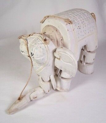 Vintage Carved Wooden White Elephant Marionette India Folk Art Puppet