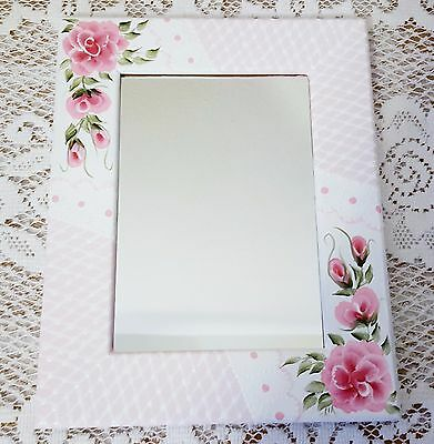 Wood Desk Wall Mirror Hand Painted Pink Roses and Lace 7.5 x 9.25