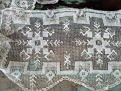 Victorian Hand Needlework lace trim wide large trim with flowers
