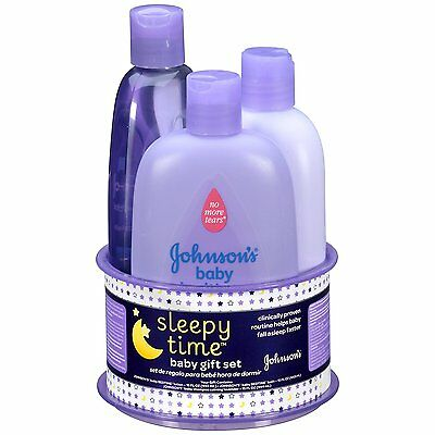 Johnsons Sleepy Time Baby Gift Set, 3 Items Bedtime Baby Lotion Bath Shampoo New