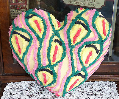 Vintage chenille Bedspread Heart Pillow Peacock tail