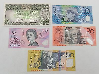 Australia Currency Banknote Lot of 5 Notes 1 Pound, $5, $10, $20 $50 (#3923)