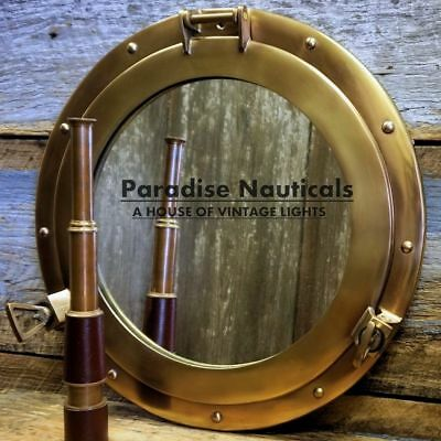 "20"" Maritime Brass Porthole Round Window Glass Nautical Boat Ship Porth Mirror"