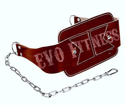 EVO Fitness Leather Dip Belt Weight lifting Gym Straps Training Workout chain